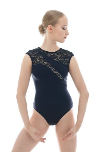 Taglia Basilica Contemporary Dance Leotard Karen Tactel with Lace Panels Black